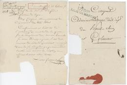 Lettre De BIRMENSDORFF (1 X 1F- 1 X 2F) An 7 - 2.8.1799 Pour Colmar + Cachet Bleu 17E Don. Armée Du Danube - Postmark Collection (Covers)