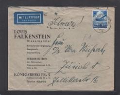 LOUIS FALKENSTEIN,GLASEMEISTEER,KÖNIGSBERG(OSTPREUSSEN).BRIEF MIT LUFPOST NACH ZURICH,1936. - Allemagne