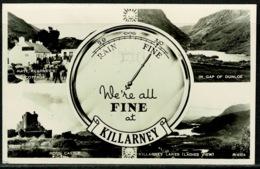 Ref 1297 - 1957 Real Photo Multiview Postcard - Killarney Ireland - Slogan Postmark - Kerry