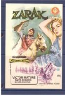Programa Cine. Zarak. Victor Mature. 1956. Bretana. EEUU. Sello Del Cine Alcazar. Tanger. Marruecos. Filmado En Tanger. - Affiches & Posters