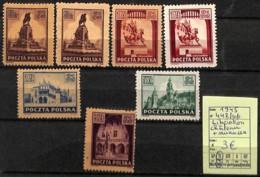 [824049]TB//*/Mh-Pologne 1945 - N° 442/46, Libération Château + Nuances - 1944-.... République
