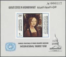 Aden - Qu'aiti State In Hadhramaut: 1966/1967, Comprehensive U/m Dealer's Stock On Presentation Card - Jemen