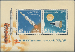 Aden - Mahra State: 1967/1968, Stock Of MNH Perforated Souvenir Sheets In The Following Quantities: - Aden (1854-1963)