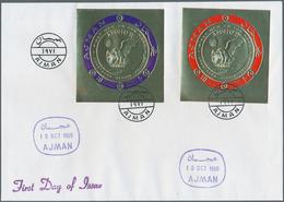 """Adschman / Ajman: 1969/1970, GOLD/SILVER ISSUES """"APOLLO 11"""" - """"APOLLO 12"""", Group Of Eleven Registere - Adschman"""