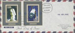 Adschman / Ajman: 1969/1973, Assortment Incl. F.d.c./covers, De Luxe Sheets, Imperforate Composite P - Ajman