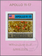 Adschman / Ajman: 1972, APOLLO 11 To 17 Four Different Imperforate Special Miniature Sheets In Diffe - Adschman