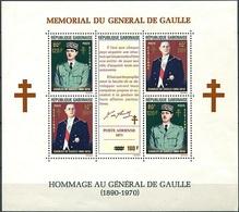 GABON Bloc Feuillet 20 ** MNH Hommage Au Général Charles De Gaulle Croix De Lorraine Surcharge (CV 18 €) - Gabon
