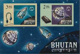 Bhutan: 1966/1971, Lot Of 14.735 IMPERFORATE Stamps And Souvenir Sheets MNH, Showing Various Topics - Bhutan