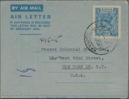 Birma / Burma / Myanmar: 1946/48 Nice Group Of Two Unused And Two Commercially Used Aerograms (both - Myanmar (Burma 1948-...)