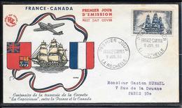 """FDC 1955 - 1035  Centenaire De L'Amitié Franco-Canadienne. Frégate """"La Capricieuse"""" - 1950-1959"""