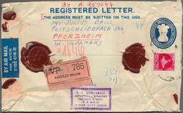 Indien - Ganzsachen: 1954/1961, Group Of Nine Uprated Registered Stationery Envelopes 6a. Blue (6), - Ganzsachen