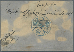 Iran: 1876-78, 5 Covers & Stationerys Including 10 Ch. Blueish Grey Portrait Bisect On Cover Tied By - Iran