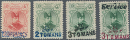 Iran: 1903, Four Stamps Shah Mozaffar With Overprints: 12 Ch On 10 Kr (small Thin Spot) 2 T On 50 Kr - Iran