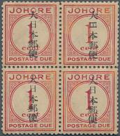 Japanische Besetzung  WK II - Malaya: Johore, 1942, Small Seal On Dues1 C./12 C., Unused Mounted Min - Malaysia (1964-...)