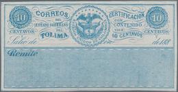 Kolumbien - Departamentos: Tolima - Wertbriefsicherungsmarken: 1879/1888, Group Of 12 Different Cubi - Kolumbien