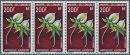 Komoren: 1969, Blossoms, Airmail Stamps 50fr., 85fr. And 200fr., Lot Of 74 Short Sets Within Multipl - Komoren (1975-...)