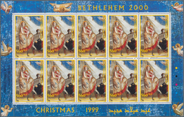 Palästina: 1999, Christmas, MHN Set Of Sheetlets With Ten Stamps Of Every Issue, Not Like The Regula - Palästina