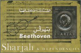 Schardscha / Sharjah: 1970, 3r. Beethoven Gold Souvenir Sheet With Additional Golden Imprint Of A Vi - Schardscha