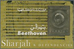 Schardscha / Sharjah: 1970, 3r. Beethoven Gold Souvenir Sheet, 100 Pieces MNH. Michel No. Block 72 B - Schardscha