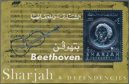 Schardscha / Sharjah: 1970, 3r. Beethoven Silver Souvenir Sheet With Additional Silver Imprint Of A - Schardscha