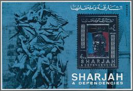 Schardscha / Sharjah: 1970, 4r. Charles De Gaulle Silver Souvenir Sheet, 182 Pieces MNH. This Issue - Schardscha