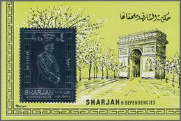 Schardscha / Sharjah: 1970, 4r. Charles De Gaulle Silver Souvenir Sheet, 188 Pieces MNH. This Issue - Schardscha
