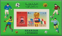 """Schardscha / Sharjah: 1970/1972, Holding Of 2000/3000 MNH Souvenir Sheets, Thematics """"Space"""", """"Footb - Schardscha"""