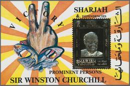 Schardscha / Sharjah: 1972, 6r. Churchill Gold Souvenir Sheet, Apprx. 2.700 Pieces MNH. This Issue I - Schardscha