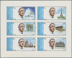 Schardscha / Sharjah: 1972, De Gaulle/Paris Buildings, 5dh.-3r. Imperforate, MNH Holding Of 413 Se-t - Schardscha