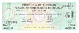 Un Austral Banknote (Scheck) Argentinien (Provincia De Tucuman) UNC 1987 - Argentinien