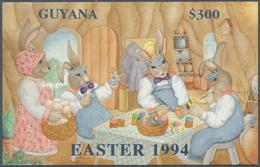 "Thematik: Comics / Comics: 1994, Guyana. Lot Of 100 SILVER Blocks ""Easter 1994"" Showing EASTER BUNNY - Comics"