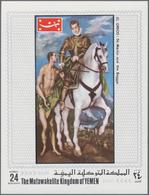 "Thematik: Malerei, Maler / Painting, Painters: 1970, Yemen Kingdom, 24b. Souvenir Sheet ""St. Martin - Künste"