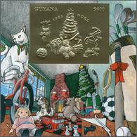 Thematik: Weihnachten / Christmas: 1993, Guyana. Lot Of 100 GOLD Christmas Blocks Containing The $60 - Weihnachten