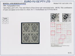 Bosnien Und Herzegowina: 1891/1900, Coat Of Arms, Specialised Assortment Of 74 Stamps Incl. Blocks O - Bosnien-Herzegowina