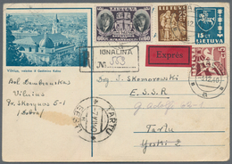 Litauen: 1949/1944, Lithuania During WWII, Assortment Of 34 Covers/cards/stationeries, Comprising PO - Litauen