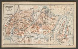 CARTE PLAN 1928 - STRASBOURG CASERNES ARTILLERIE PORT BASSIN DE COMMERCE DE L'INDUSTRIE - Cartes Topographiques