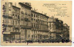 - BORDEAUX - Opéra Hôtel, Voitures Anciennes, Automobiles, Non écrite, Splendide, TBE, Scans - Bordeaux