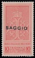 ITALIA - Isole Egeo: Rodi / Emissioni Generali - Mostra Triennale D'Oltremare 10 C. Arancio SAGGIO - 1940 - Dodecanese