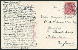 1912 Germany Leipzig Neues Rathaus Postcard - Felixstowe England. Gorlis - Germany