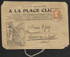 Enveloppe Echantillon Grands Magasins A LA PLACE CLICHY-Cachet De Paris Sur Semeuse 25c - Marcophilie (Lettres)