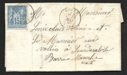 Manche-Lettre Avec Cachet Type 16 De Ducey Sur Sage 15c - Marcophilie (Lettres)