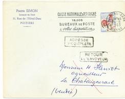 France N° 1331 Y. Et T. Vienne Poitiers Gare Flamme Flier Du 26/08/1963 Ind 0 Au Dos Type A8 La Chataigneraie Vendée - 1961-....