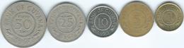 Guyana - 1 (1989) 5 (1967) 10 (1990) 25 (1967) & 50 Cents (1967) (KMs 30-34) - Guyana
