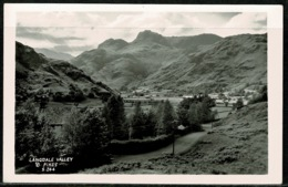 Ref 1298 - Real Photo Postcard - Langdale Valley & Pikes - Lake District Cumbria - Cumberland/ Westmorland