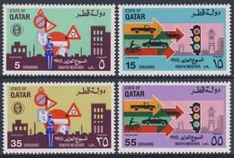 Qatar 1975 Mi 642 /5 SG 549 /2 ** Traffic Week / Verkehrswoche: Polizist, Verkehrszeichen+ Fahrzeuge, Ampel,Glockenturm - Qatar
