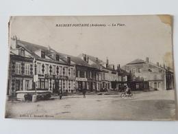 C.P.A.: 08 MAUBERT FONTAINE : La Place, Café National, Animé, Vélo, Timbres En 1933 - Francia