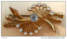 Bro-293 Broche Ancienne à Décor De Brillants Sur Métal Jaune, à Décor De Brillants - Non Classés