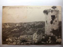 Carte Postale Chateaudouble (83) La Tour Romaine Et Vue Générale ( Petit Format Noir Et Blanc Oblitérée 1931 Timbre 5 C) - Otros Municipios