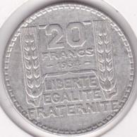 20 Francs Turin En Argent 1934 - France