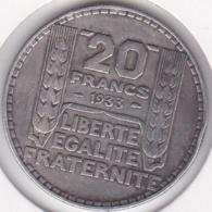 20 Francs Turin En Argent 1933 - France